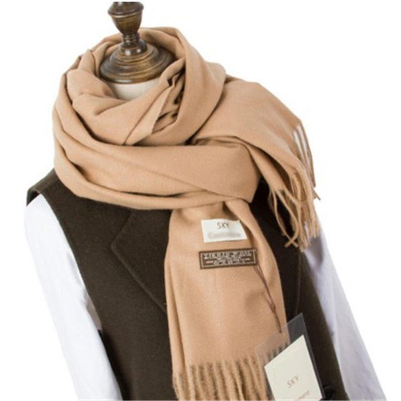 Modern Wool Designer White Winter Very Extra Thick Scarfs Warm Solid Colour Long Imitation Cashmere Tassel Scarves