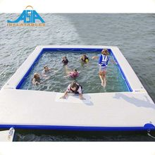 Pvc Sea/Lake Floating Inflatable Swimming Pool Rectangular Inflatable Pool With Black Net