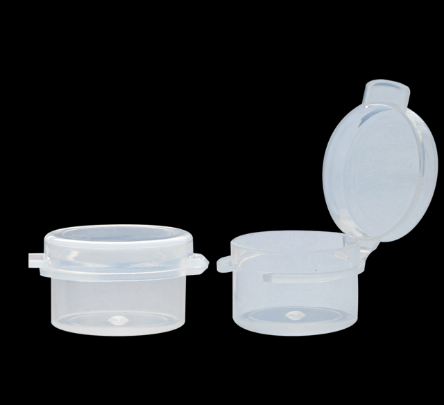 Wholesale multipurpose small container transparent Plastic 3g hinged sample jar