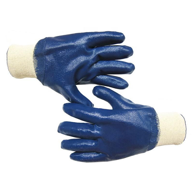 Wholesale Professional Custom Logo design Heavy Duty light blue Cotton Nitrile fully coated waterproof premium Gloves Oil Proof