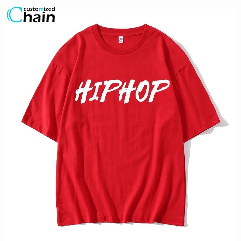 MOQ 2 PCS high quality fashion hip-hop oversized 100% cotton tshirt unisex tshirts custom Logo street wears