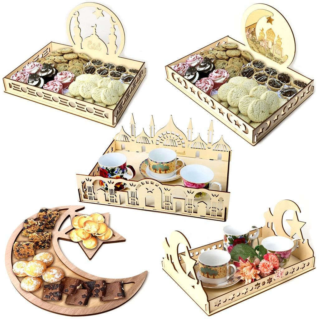 Eid Mubarak Food Serving Tray Laser Cut Dessert Plate Eid Gift Plywood Storage Box eid decorations