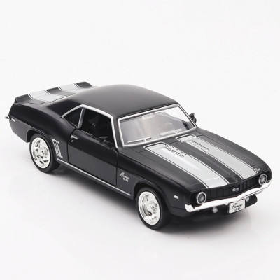 1/36 Schaal Usa 1969 Chevrolet Camaro Ss Vintage Matte Black Metal Diecast Model Auto Speelgoed Voor Collection Gift Kids