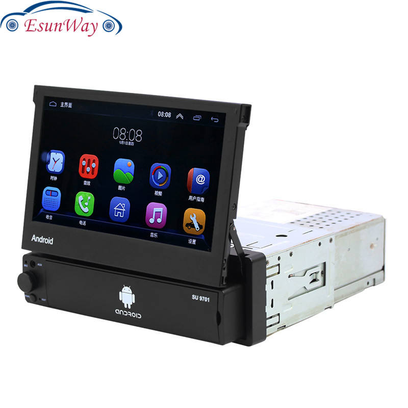 Bluetooth Touch Screen 1 Din 7 Inch Ditarik Android Mobil DVD Player Multi Media Auto Player dengan GPS fungsi