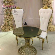 modest luxury crown decor high back PU Leather Gold  Wedding King Chair Dining Room Furniture For Sale