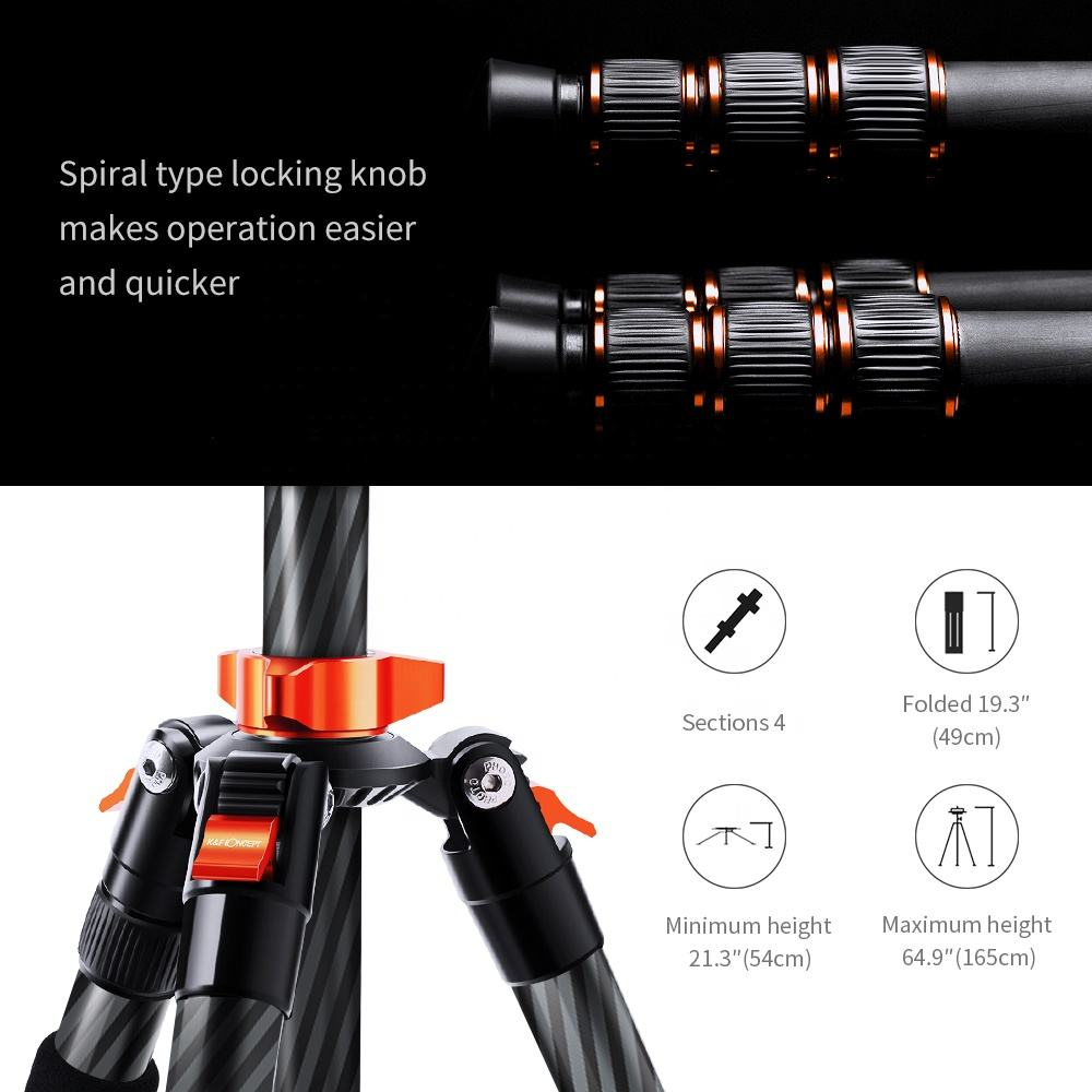 K F Concept Number Of Digital Tripod Dslr Camera Tripod Carbon Fiber Tripod Easy To Carry Lightweight