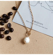 Fresh water pearl necklace fashion chain fairy Japanese and Korean fashion accessories  14k gold pearl  pendant necklace