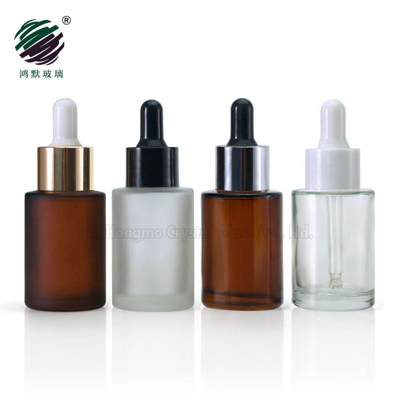 Amber clear frosted 1 oz 1oz 30 ml 30ml flat shoulder cylinder glass dropper bottle for serum essential oil