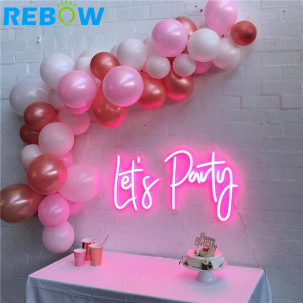 Wall-mounted Custom LET'S PARTY pink LED Neon Sign Letters for home event party