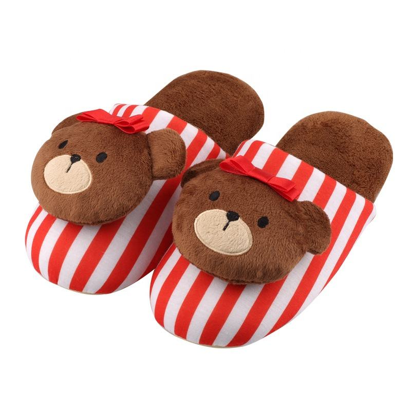 Custom indoor shoes warm stuffed teddy bear female male man women Slippers