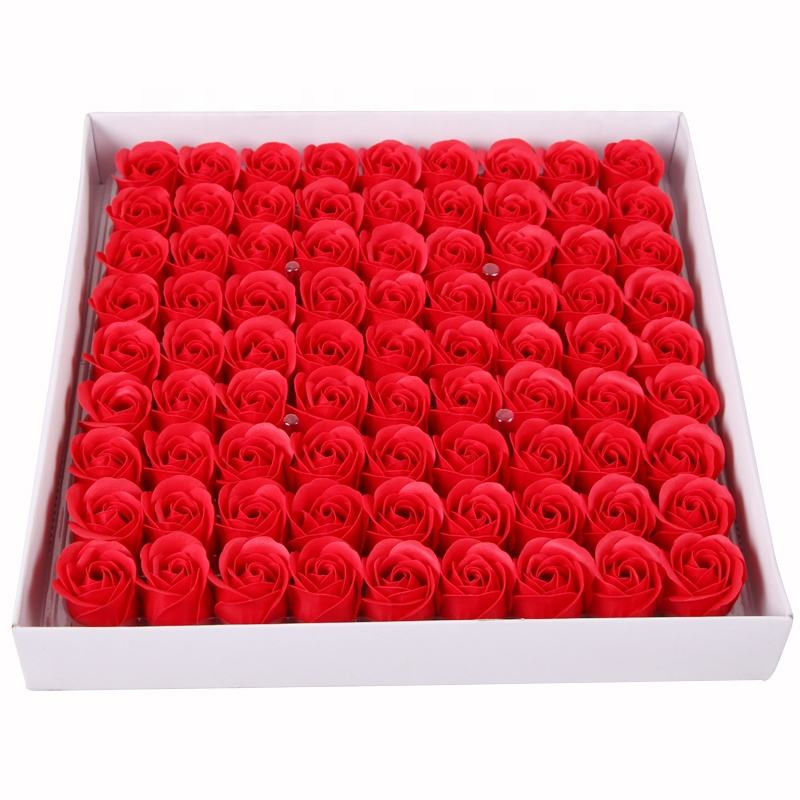 soap flower with cheap box artificial hand made 81pcs single soap roses head wholesale for valentine