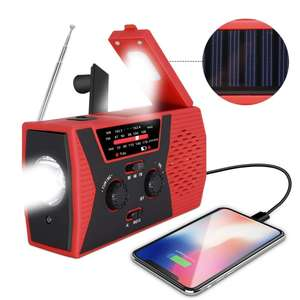 Solar Engkol Dynamo Portable Radio Cuaca dengan AM/FM/NOAA 2000 MAh Power Bank Lampu Baca
