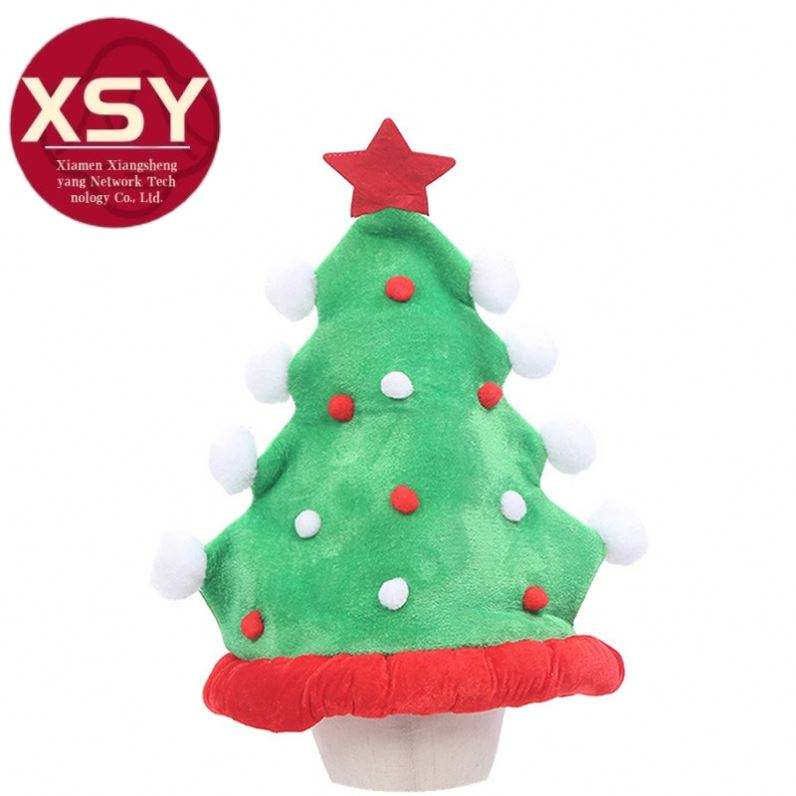 2021 New Creative Design Holiday Party supplies Party su Christmas Tree Decorative Hat with Five-pointed Star Push Ball PGH2469