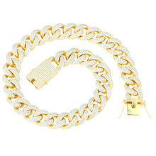 Custom 18k Gold Plated CZ Iced Out Chain Necklace Fashion Jewelry