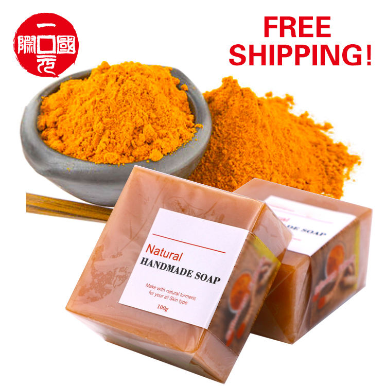 SGZAO- 3 Hand Made Anti Acne Remove Pimples Dark Spots Natural Square Turmeric Herbal Soap Organic