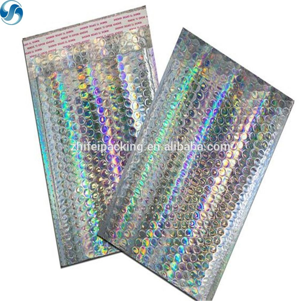 Wholesale Metallic Bubble Mailer Custom Printed Promotional Holographic Bubble padded envelope