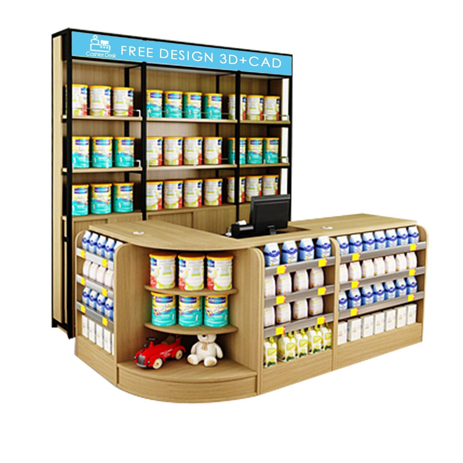 Bois Supermarché Caisse Ordinateur Caisse Protection Pare-Haleine Au Dépanneur Protecteur Comptoir de Caisse Pour Magasin Type