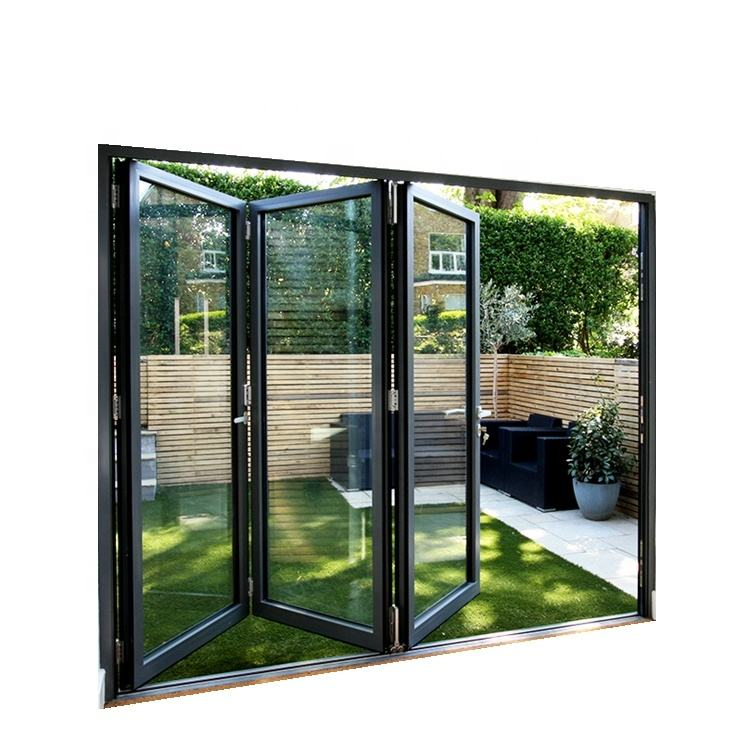 New design manufacturer directly supply modern exterior folded glass aluminium bi fold door