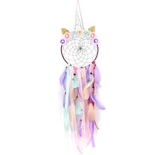 Ins Hot Sale Unicorn Dream Catcher With Lights for Kids Sweet Girls Bedroom Wall Decoration