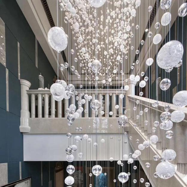 Modern style customize hotel lobby decorative balls round chandelier glass K9 crystal pendant light