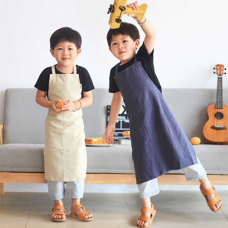 Wholesale customized kitchen painting cooking linen cotton kids aprons