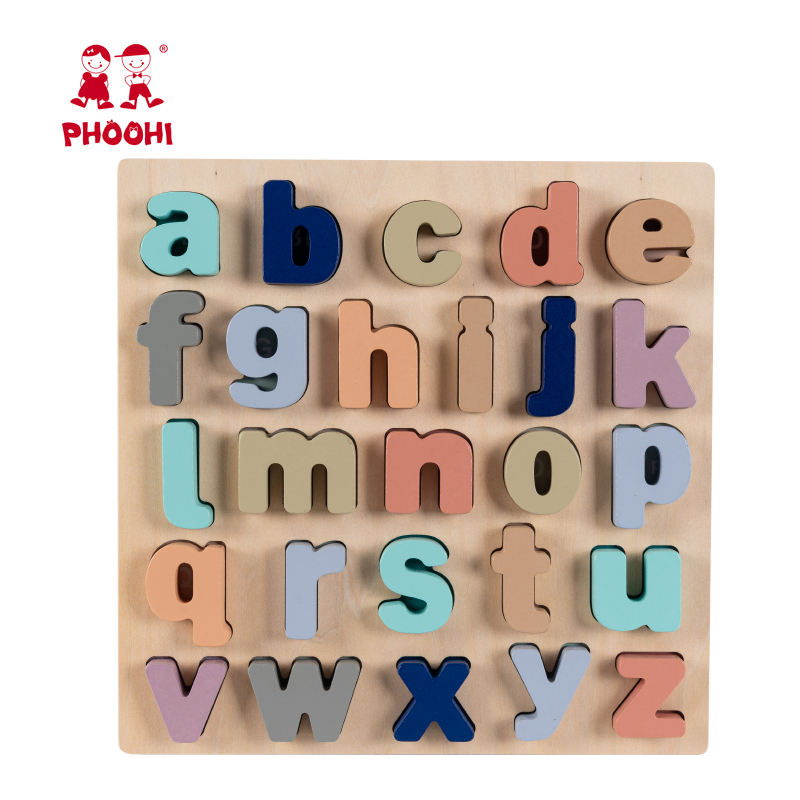 Educational Play Cognitive Toy Macaron Children Wooden Alphabet Letter Puzzle For Kids