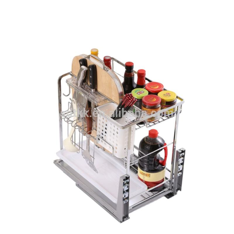 TKK Kitchen accessories slide wire storage basket pull out basket soft stop multi purpose square wire basket