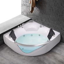 AO-6084 Corner jakuzzy spa for two peopleTempered Glass Side Acrylic Corner Size Bathtub with pillow