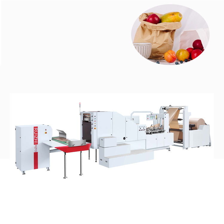 Square bottom paper bag machine with die-cut patch handle