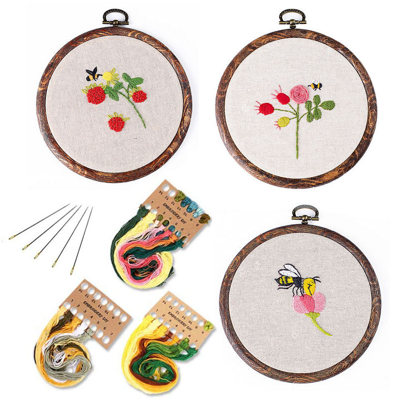 5 polegadas Abelha Flor <span class=keywords><strong>Bordados</strong></span> Kit para Iniciantes Fácil DIY Needlework Cross Stitch Set Arte Da Parede Pintura Do Bordado de Costura Craft