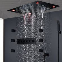 Luxury LED Matt Black Thermostatic High Flow Shower Set Concealed Ceiling Big Rain Waterfall Showerhead Set Body Jets 2 Inch