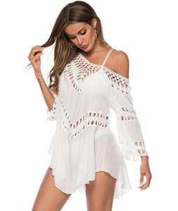 Newest beach cover up cotton kaftan beach wear sarong cover up white Woman Pocket Bikini Cover up Tunics