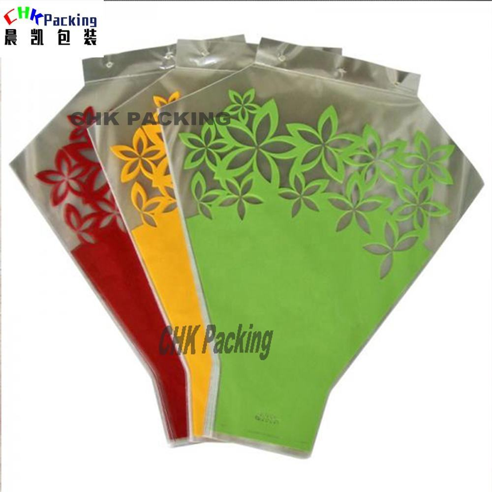 plastic flower bouquets flower pot sleeve package with air hole/hibiscus flower sleeves