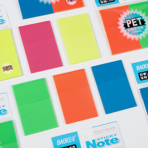 Plastic Highlighter Sticky Notes Memo Pad 5 Neon Colors 3 x 3.5 Inch