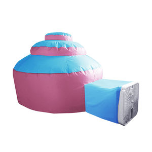 Indoor Kids Play Fan Blow Air Fortress Tent Automatic Pop up Cake House Bottomless Playground Children Party Tent