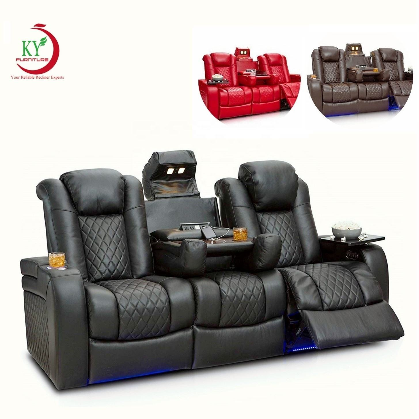 JKY Furniture Comfortable Luxury Sectional Electric Luxury Home VIP Movie Theatre Cinema Theating Theater Recliner Sofa
