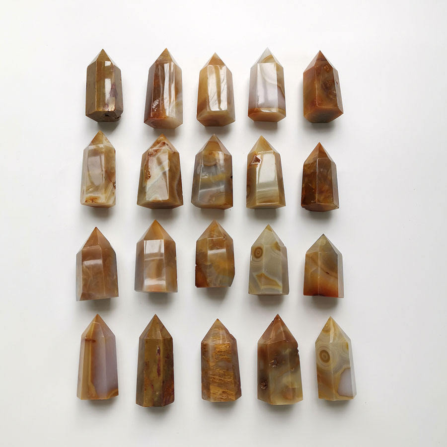 5-7cm Carnelian Point Natural Agate Rock Crystal Towers 6 sides Small Obelisks Shiny Polished