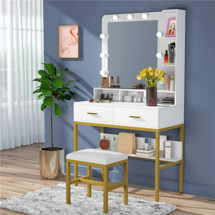 New Arrival Hot Sale Popular Modern Bedroom Furniture LED Light Make Up Table Dressing Table Dresser With Mirror And Lights