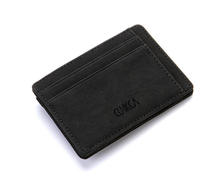 Factory price high quality men slim leather rfid money clip credit card holder wallet with coin pocket bag