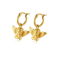 Fashion DIY Stainless Steel Metal Angel Pendant Charm Earrings Personalized 18k Gold Plated 20mm Circle Charm Hoop Earrings