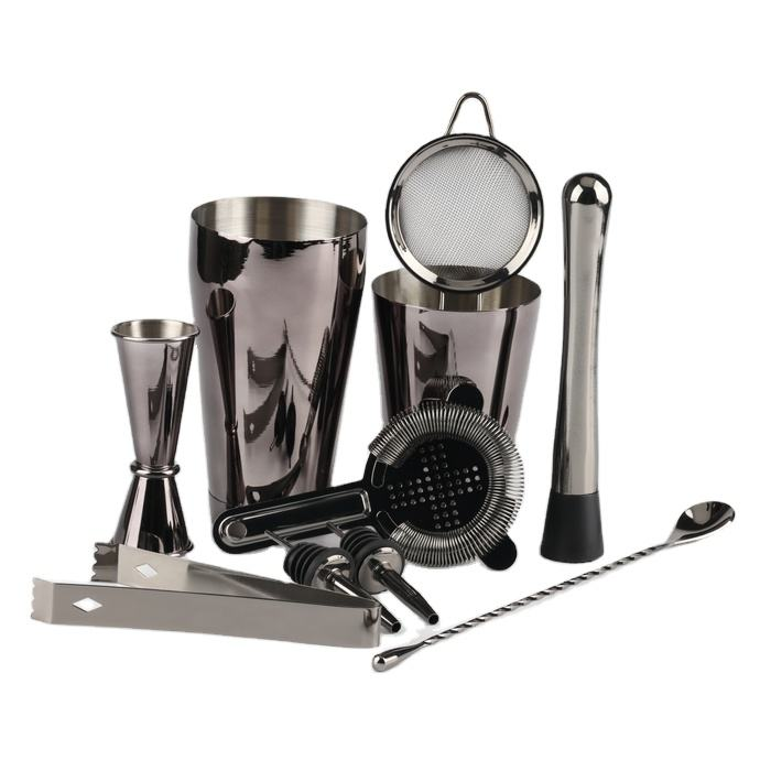 750ML 9Piece Home Bar Tools Stainless Steel Cocktail Shaker Set Black 24 ounce Cocktail Shaker Bar Set With Accessories