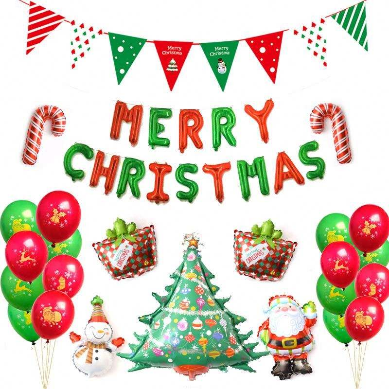 Wholesale 38pcs Green And Red Merry Christmas Party Balloon Set Santa Foil Balloons Event Party Supplies Decoration Christmas