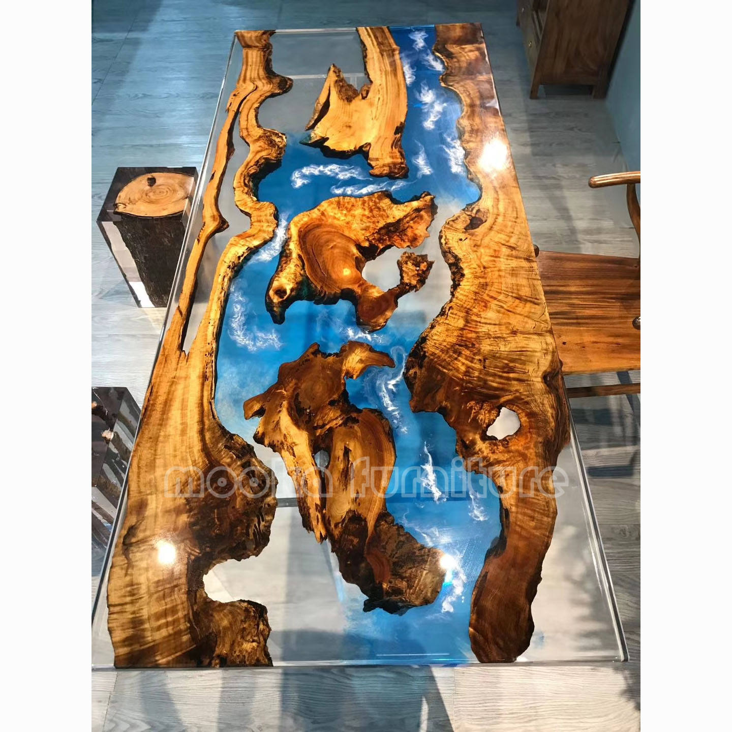 Elegant transparent blue epoxy resin clear table golden wood river dining table