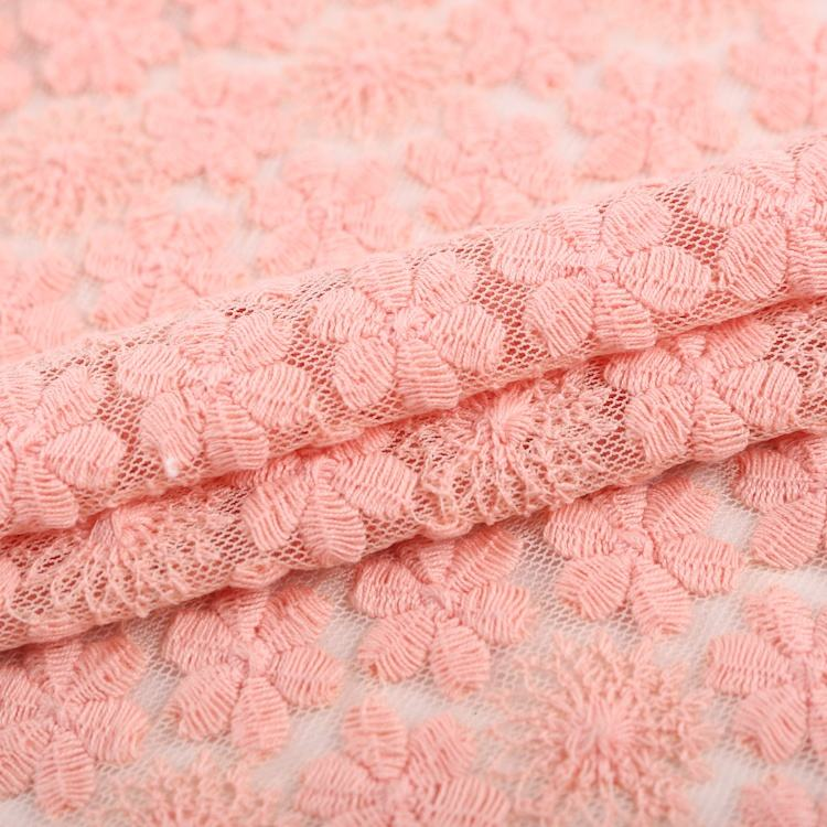 Nylon small flower mesh lace embroidery fabric cotton for kids wear S-4585