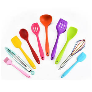 Amazon Hot Selling 10 pcs Silicone Non-stick Cookware Sets Cooking Spoon Shovel Kitchen Accessories Utensils Set
