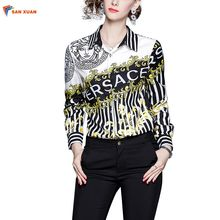 Abundant in-stock autumn new fashion slim turn down collar long sleeve digital stripe printed office wear fashion women top