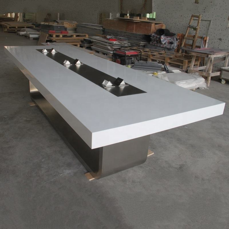 China Conference Room Table Smart Executive Corian Quartz Stone Marble Top Modern Design Office Furniture White Conference Table