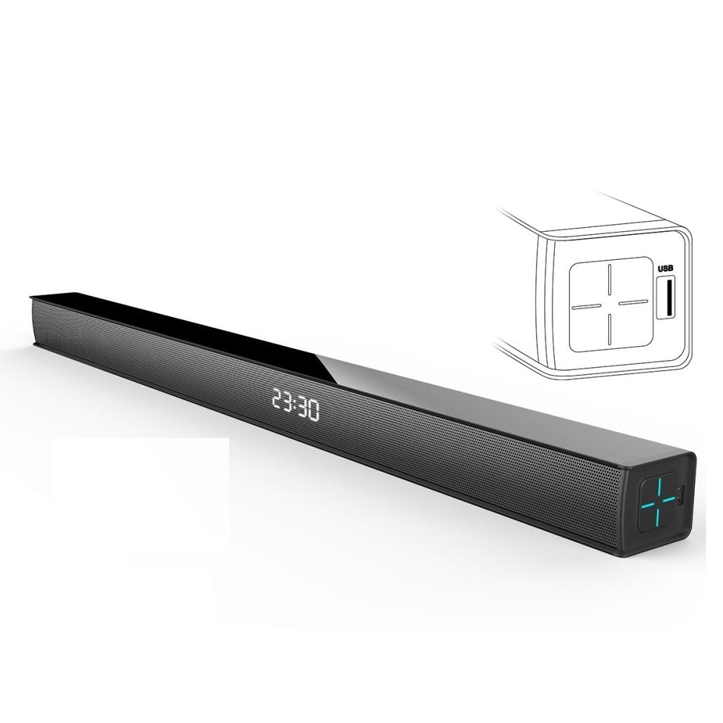 Powered Speaker 40 Watts Home Theater TV Soundbar Sound System Support Blue tooth Optical with Universal Remote Control, Black