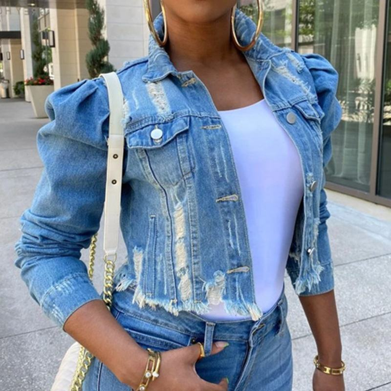 RX- 9112021 New arrival plus size ripped ladys denim jacket cropped puff shoulder jean jacket women 2021