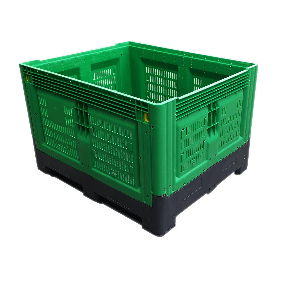Heavy duty vented fruit and vegetables caisses plastique collapsible plastic pallet box for storage